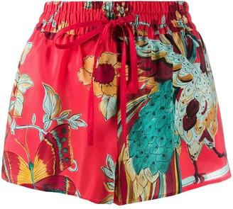 RED Valentino Drawstring Floral Print Silk Shorts
