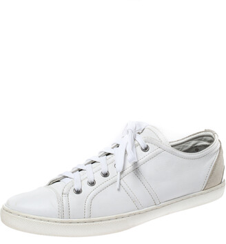 Dolce & Gabbana White Leather And Suede Lace Up Sneakers Size 43.5