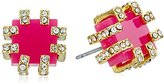 "Trina Turk Core"" Stud Pave Detail Gold Pink Stud Earrings"