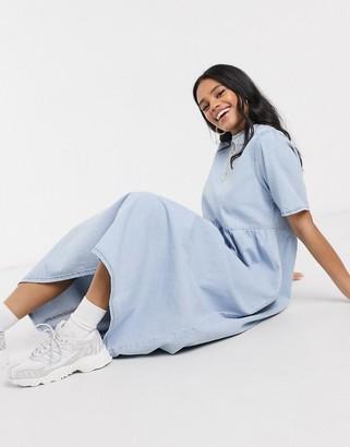 Asos DESIGN denim soft midi smock dress in blue