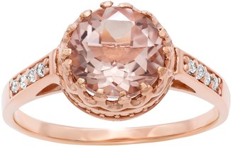 Tiara 14k Rose Gold Over Silver Simulated Morganite and Lab-Created White Sapphire Crown Ring
