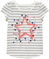 Gymboree Gray & Coral Stripe Star Cap-Sleeve Tee - Girls