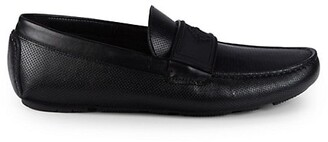 Roberto Cavalli Perforated Leather Driving Loafer Flats