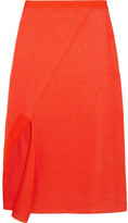 Victoria Beckham Asymmetric Stretch-knit Midi Skirt - Bright orange