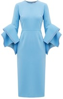 Roksanda Ronda Fluted-cuff Cady Dress - Womens - Blue