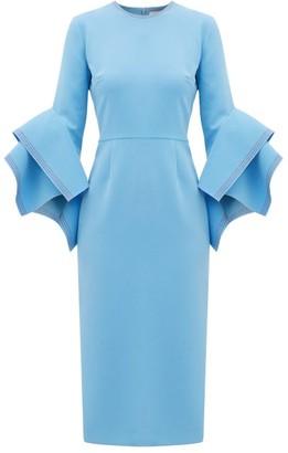 Roksanda Ronda Fluted-cuff Cady Dress - Blue
