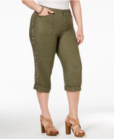 INC International Concepts Plus Size Linen Embellished Capri Pants, Only at Macy's