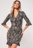 Missguided Stone Snake Print Jersey Tea Dress