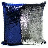 OJIA Stylish Sequin Mermaid Throw Pillow Cover with Magical Color Changing Reversible Paillette Design Faux Suede Decor Cushion Pillowcase 16 X 16 Inch (Blue and White)