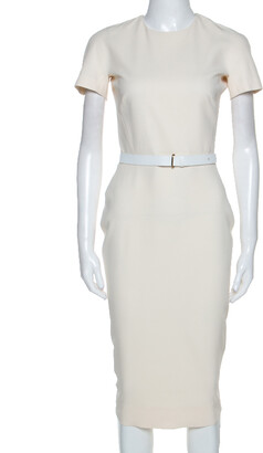Victoria Beckham Cream Silk Wool Blend Belted Sheath Dress S