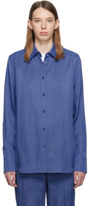 Helmut Lang Blue Viscose Shirt