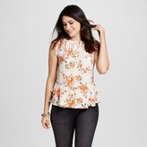 Mossimo Women's Pattern Button Front Peplum Top