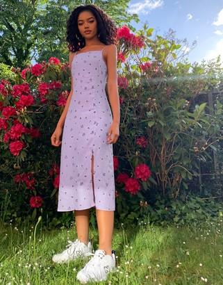 Pimkie strappy midi dress in lilac floral print