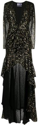 ATTICO Star-Print Plunge-Neck Dress