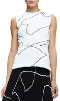 Derek Lam Calder Sleeveless Line Art Top, White