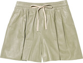 Drawstring leather shorts