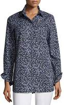 Lafayette 148 New York Kadin Button-Front Villa Vines Blouse, Ink Multi