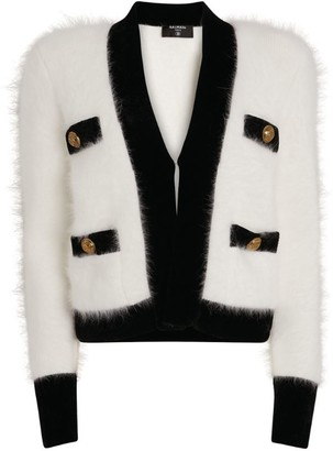 Balmain Angora-Blend Cropped Jacket