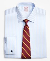 Brooks Brothers Stretch Madison Classic-Fit Dress Shirt, Non-Iron Twill Ainsley Collar French Cuff Bold Stripe