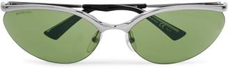 Balenciaga Oval-Frame Silver-Tone Metal Sunglasses