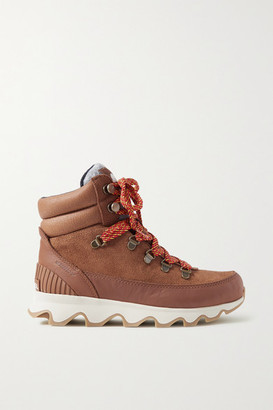 Sorel Kinetic Conquest Felt-trimmed Waterproof Suede And Leather Ankle Boots - Tan