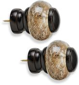 Cambria® Premier Wood Granite Finial in Chocolate (Set of 2)