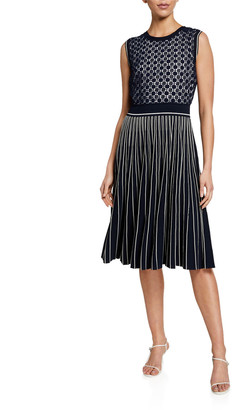 Tory Burch Sleeveless Lace-Bodice Pleated Sweater Dress