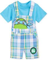 Nannette 2-Pc. T-Shirt & Ninja Turtles Plaid Shortall Set, Baby Boys (0-24 months)