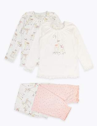 Marks and Spencer 2 Pack Cotton Deer Print Pyjama Set (1-7 Years)