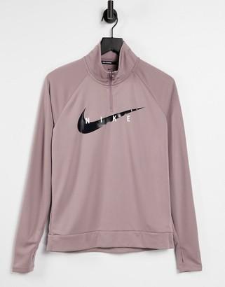 Nike Running Swoosh half zip mid layer top in purple
