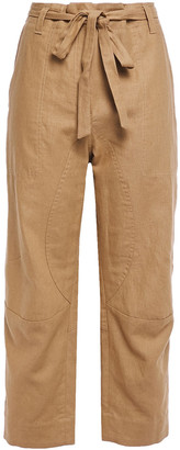 Brunello Cucinelli Cropped Belted Linen And Cotton-blend Wide-leg Pants