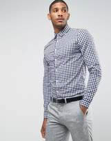 Asos Smart Stretch Slim Twill Check Shirt In Navy