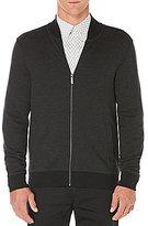 Perry Ellis Herringbone Elbow Patch Full-Zip Jacket