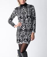 Yuka Paris Black & Ivory Abstract Turtleneck Sweater Dress
