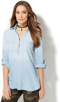 New York & Co. Soho Soft Shirt - Side-Button Hi-Lo Tunic - Ultra-Soft Chambray - Light Blue