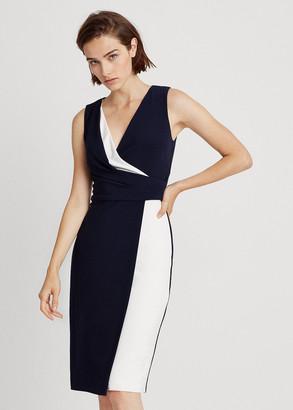 Ralph Lauren Two-Tone Surplice Dress