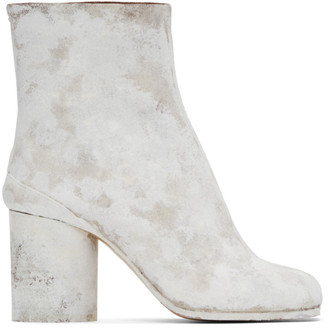Maison Margiela Brown and White Painted Tabi Boots