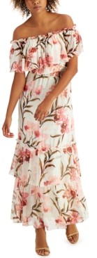 INC International Concepts Inc Elizabeth Make A Wish Off-The-Shoulder Maxi Dress, Created for Macy's