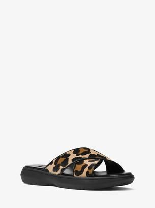 Michael Kors Daphne Leopard Calf Hair Slide Sandal
