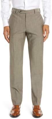 Zanella Parker Flat Front Solid Wool Dress Pants