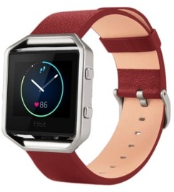 Posh Tech Unisex Fitbit Blaze Red Genuine Leather Watch Replacement Band