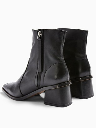 Topshop Margot Side Zip Leather Ankle Boots - Black