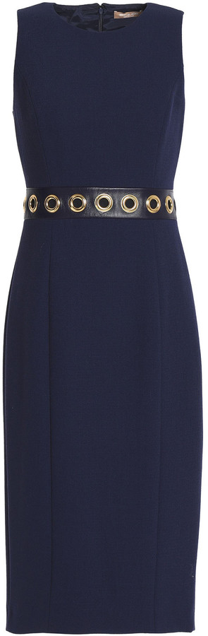 Michael Kors Collection Leather-trimmed Stretch-wool Dress