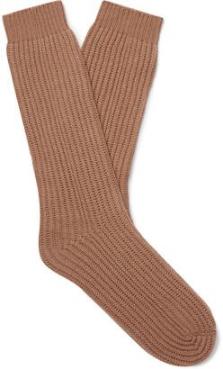 Mr P. Ribbed Cashmere Socks - Men - Brown