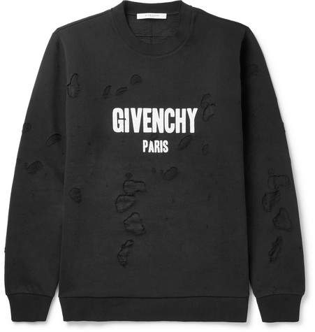 Givenchy Cuban-Fit Printed Distressed Cotton-Jersey Sweatshirt