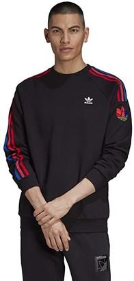adidas 3D Trefoil 3-Stripe Crew (Dark Green) Men's Clothing