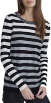 White + Warren Essential Stripe Crewneck Sweater