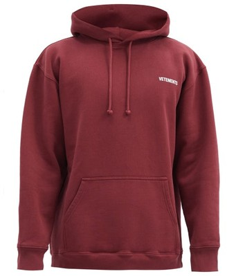 Vetements Logo-print Cotton-blend Jersey Hooded Sweatshirt - Burgundy