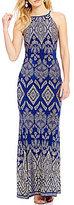Jump High Neck Glitter Pattern Long Dress