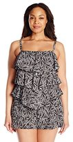 Fit 4 U Women's Plus-Size Twisted 3 V Tier Romper One-Piece Swimsuit